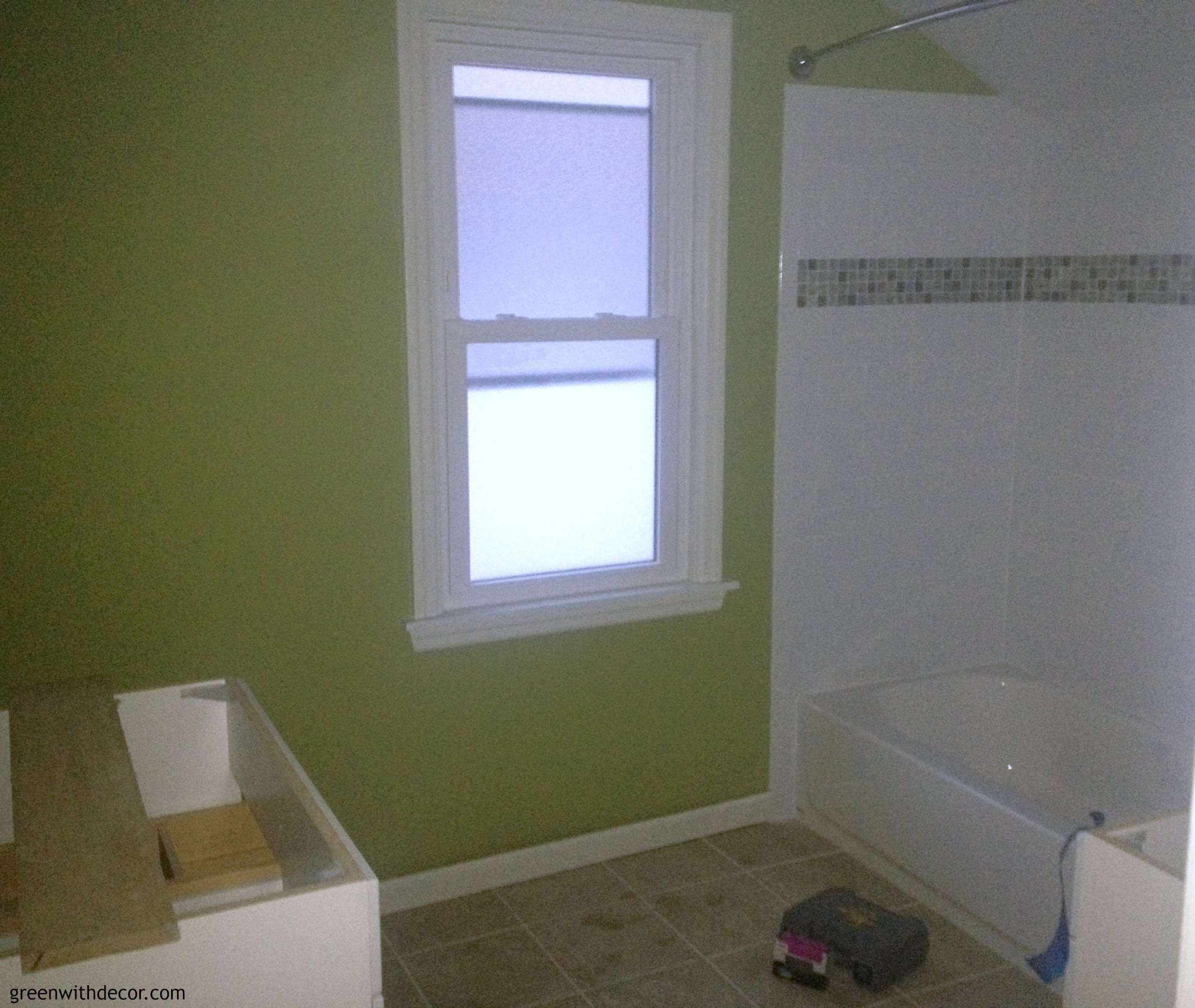 Green With Decor – Sherwin Williams Ryegrass green bathroom
