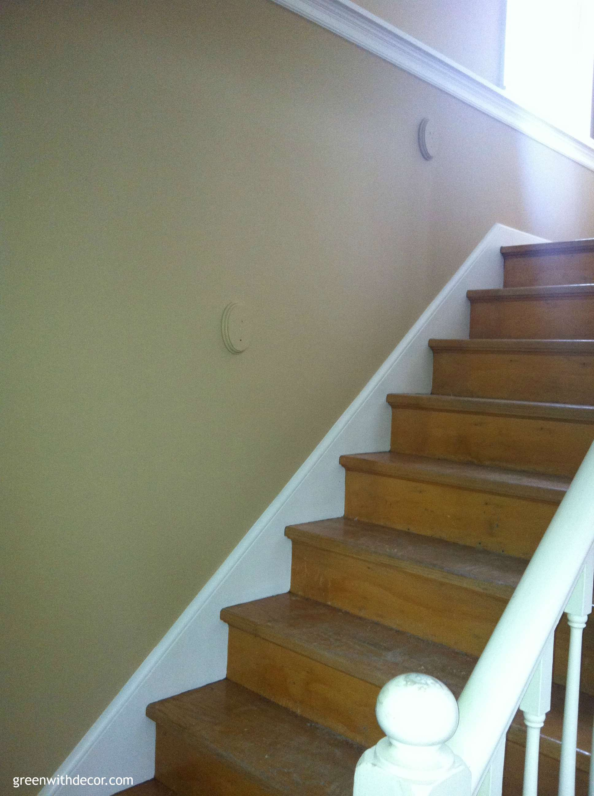 Green With Decor – Sherwin Williams Camelback paint wooden stairs