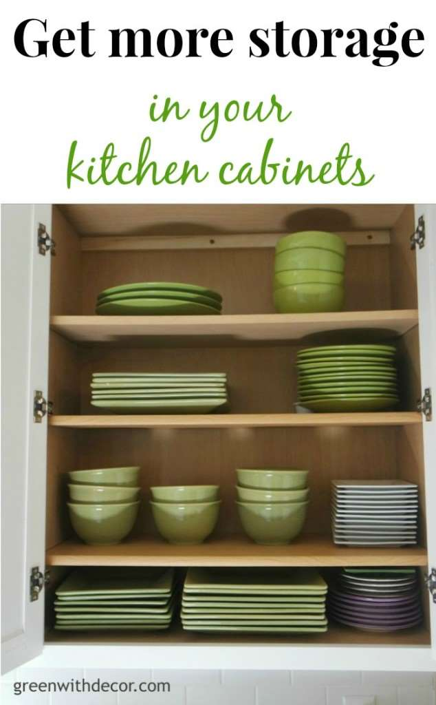 Add extra storage in the kitchen cabinets with this easy trick!