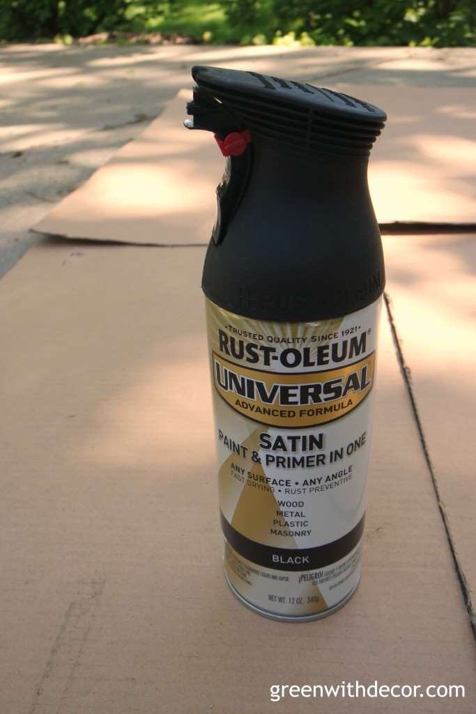 A can of Rustoleum spray paint used for painting a dresser