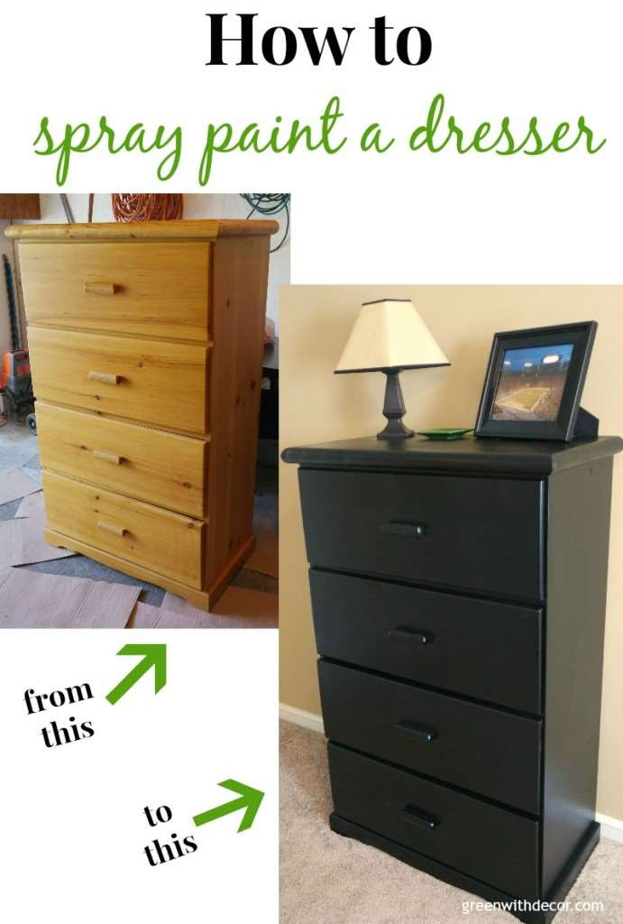 "A wood dresser (before) and black dresser (after) with text overlay, ""How to spray paint a dresser"""