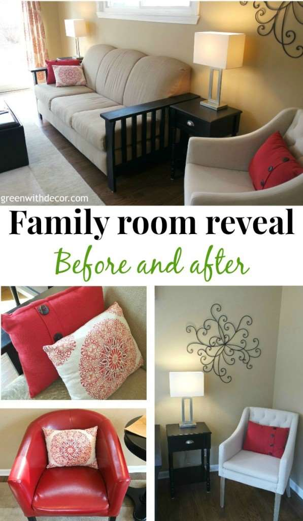 I love this family room! It's so cozy. And a lot of her shopping for this room is from TJ Maxx, Target and Homegoods. Love shopping on a budget! | Green With Decor