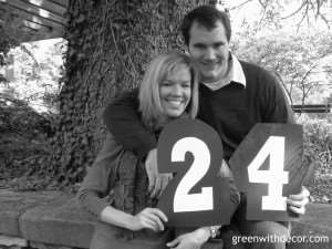 Green With Decor – Creative and easy idea for wedding table numbers. Take a picture holding each number, then frame the numbers that make up your wedding date.