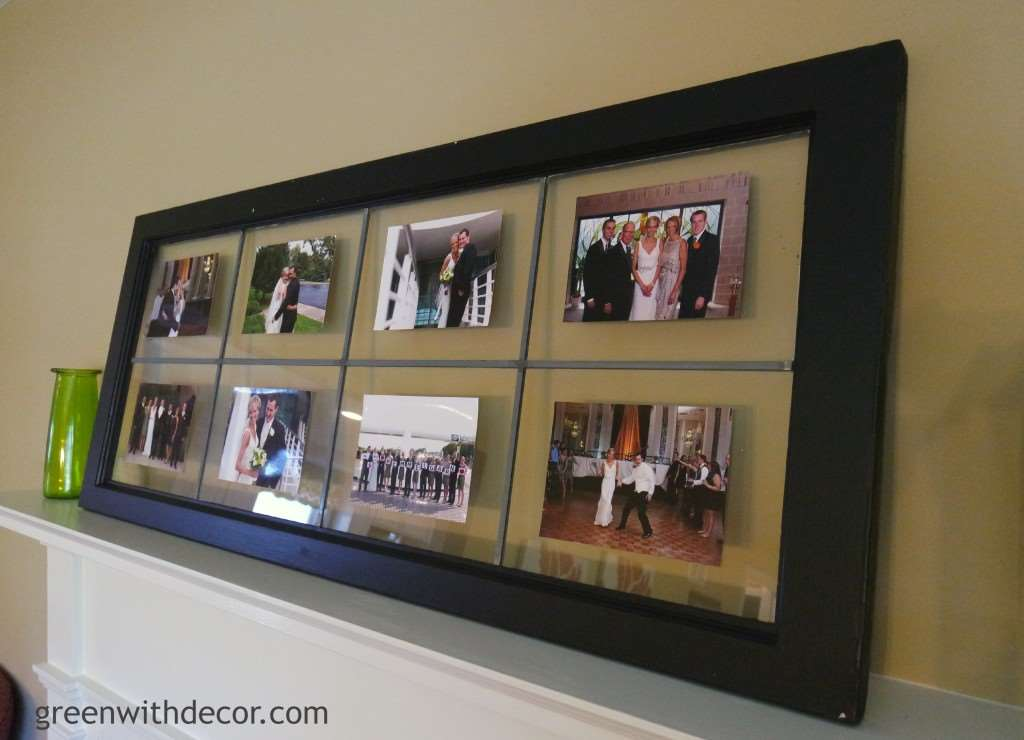 An easy DIY project for a mantel. Turn an old window into a picture frame in a few easy steps. | Green With Decor