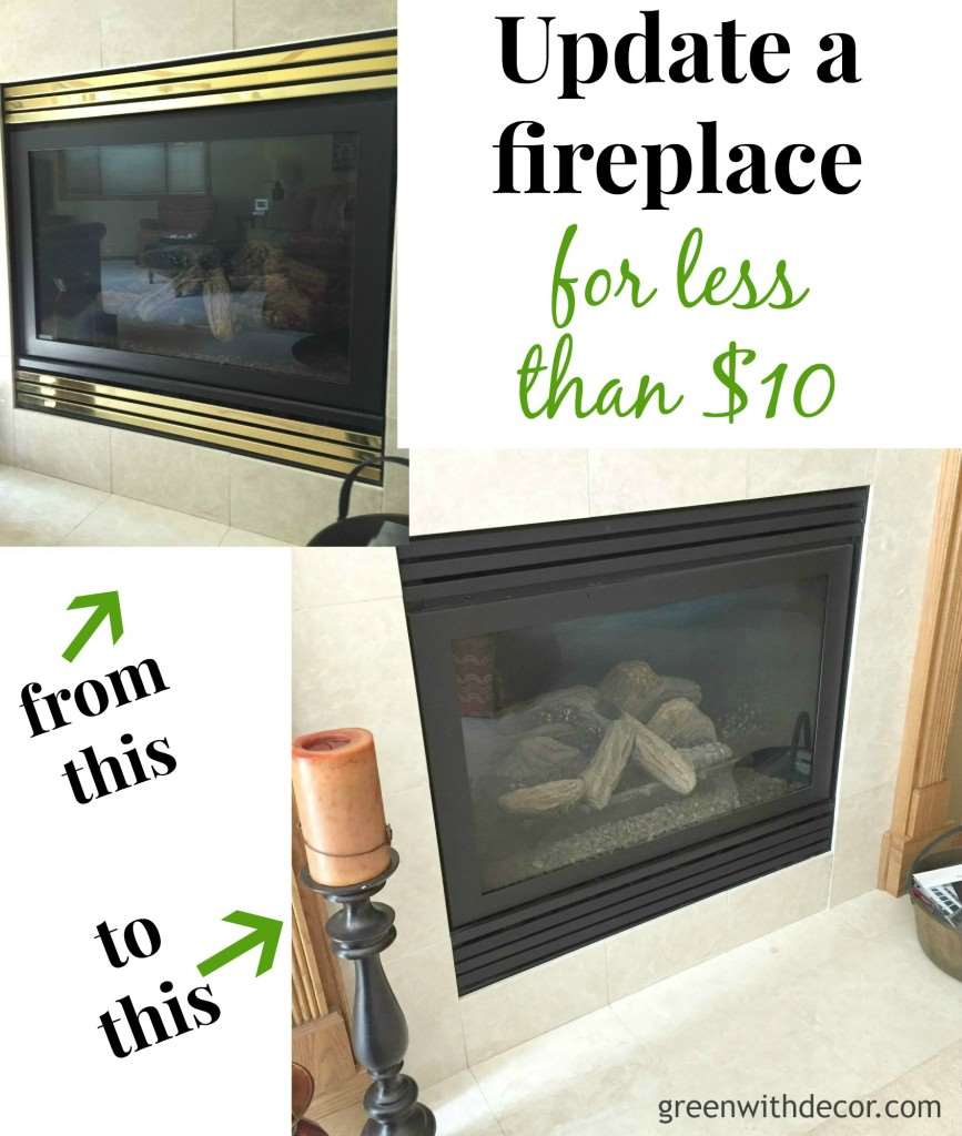 Update the look of a fireplace for less than $10. This is such a great idea! | Green With Decor