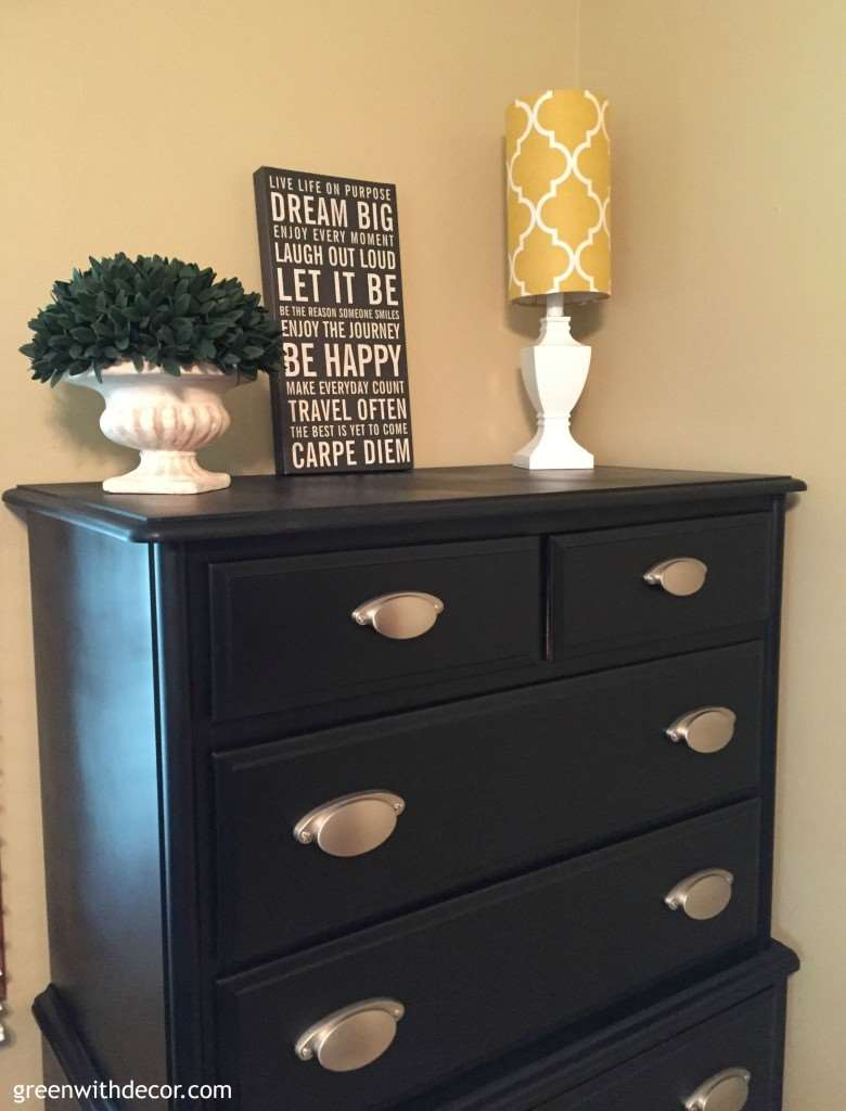 A Dresser Makeover With Spray Paint Green With Decor