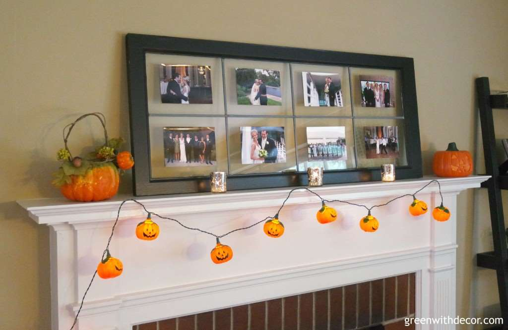 What a fun idea for a fall mantel! I love those little pumpkin lights. From Green With Decor