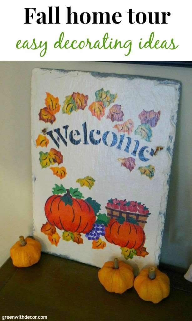 A fun way to decorate your entryway for fall. Fall decorating ideas from Green With Decor.
