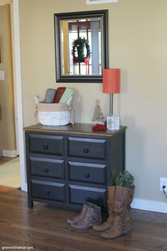 Dark foyer before small coastal foyer makeover