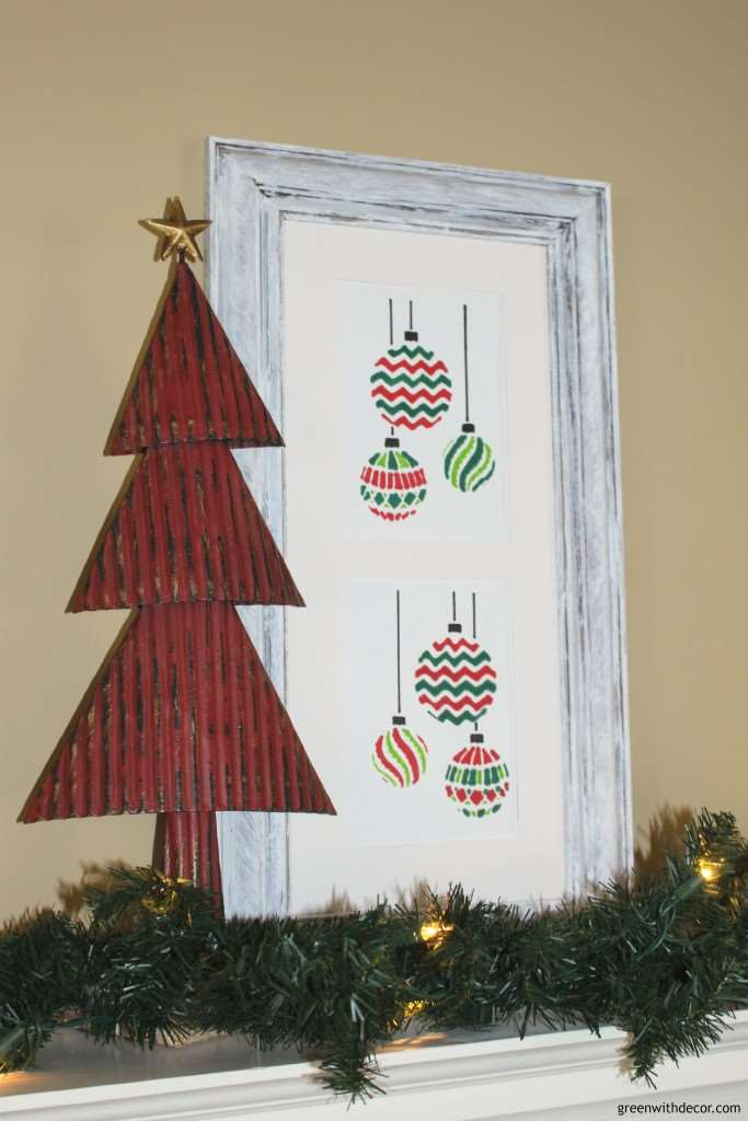 A Christmas craft with a stencil and an old frame. I love the white washed look of this frame! | Green With Decor