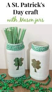 A fun St. Patrick's Day craft with Mason jars. How cute are these? And she used old spaghetti jars instead of Mason jars, what a great idea! | Green With Decor