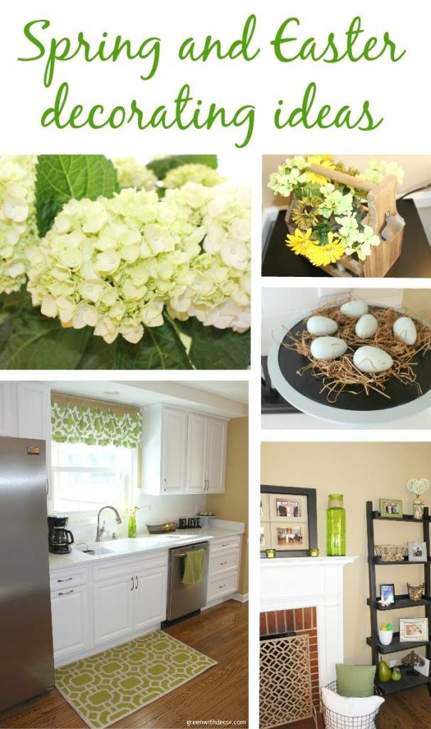Spring home tour. Great green and white decorating ideas – and a few cute Easter ideas! | Green With Decor