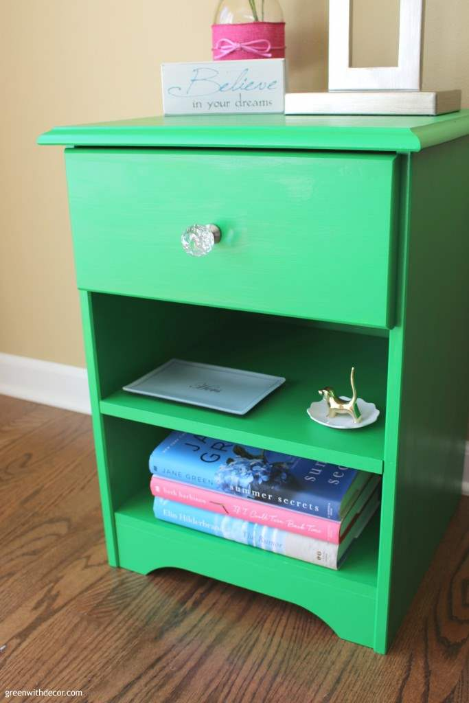 An enchanting nightstand makeover. The paint brand she used offers products for prep and finishing, too – this makeover sounds really easy, and I love the color (Enchanting by Velvet Finishes)!