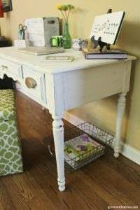 This is a great tutorial for painting an old desk with chalk paint! Smart, cheap idea instead of buying everything new for a home office. | Green With Decor
