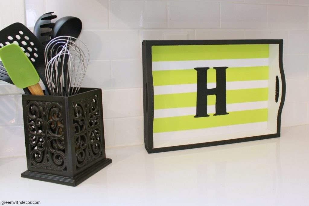 Great idea for a quick, easy decor update. Paint something small, like a tray or picture frame, to give a corner of the room a whole new look! | Green With Decor