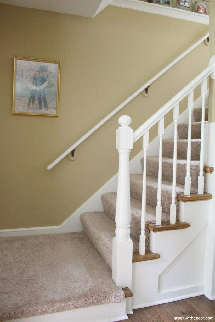 How to paint a banister without taking it off the wall – so easy! I'm never taking the banister off the wall again when I repaint it. | Green With Decor