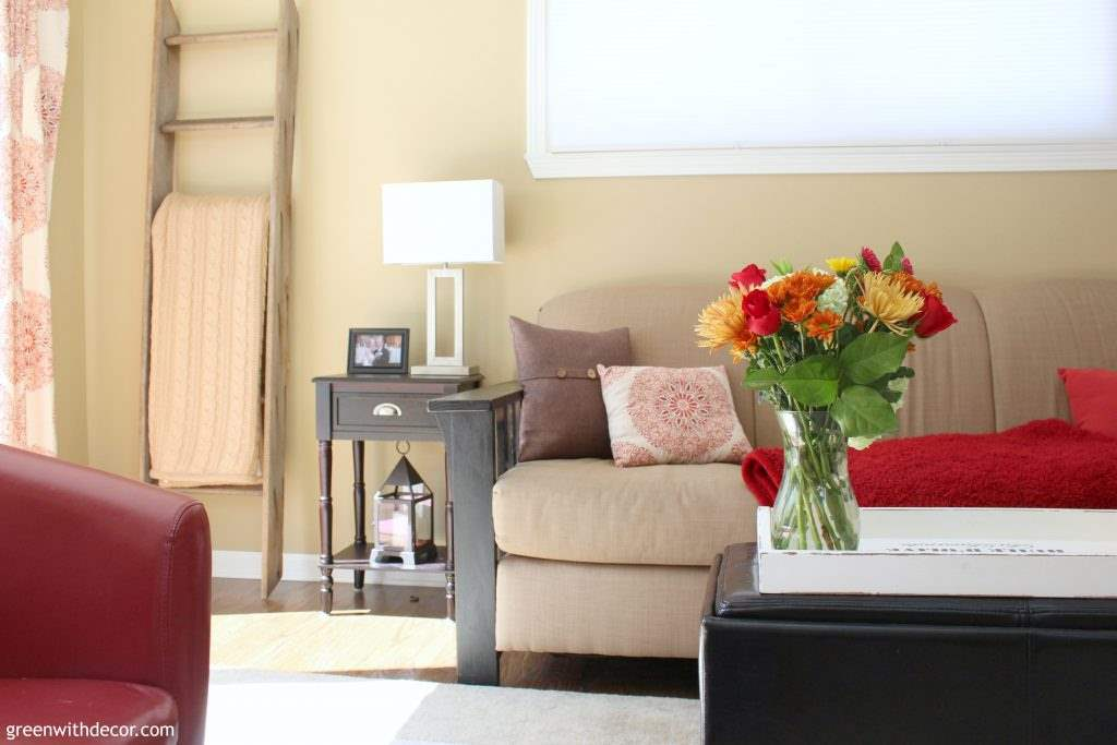 Camelback walls in a red and brown family room - such a great neutral paint color!