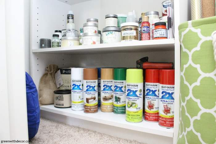 How to organize a craft closet without spending a dime. Love how this isn't a typical organized closet with perfect bins and labels, this is actually do-able! And on a budget! She has so much Rustoleum paint, I love it!