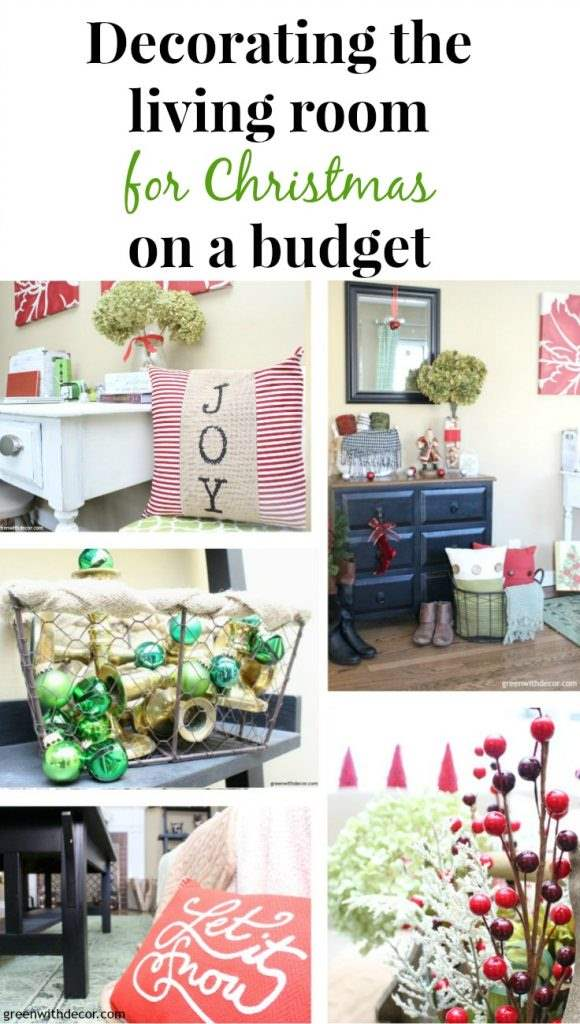 Decorating the living room for Christmas on a budget. Great budget-friendly holiday decorating ideas here! I love all the ribbon and ornaments she uses to make the family room feel festive.