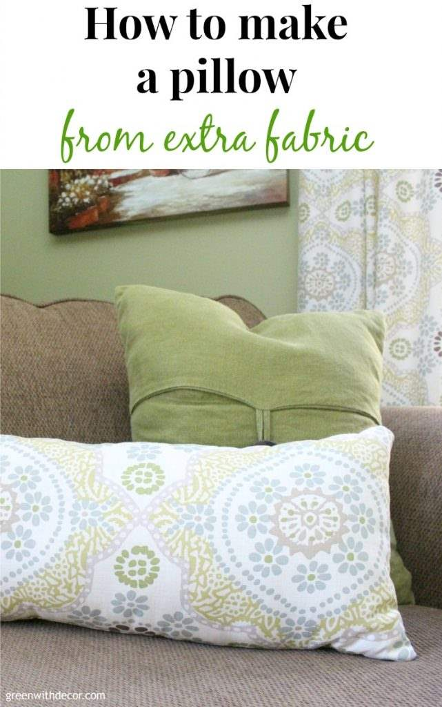 How to DIY a throw pillow from extra fabric. A perfect excuse to make a pillow and a great way to use old fabric instead of throwing it away. Plus you could do this with Christmas or other holiday fabric as a cheap way to get seasonal throw pillows.