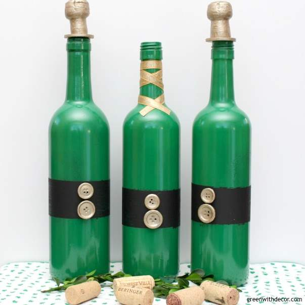 A St. Patrick's Day DIY project with old wine bottles. Fun holiday craft with Rustoleum spray paint