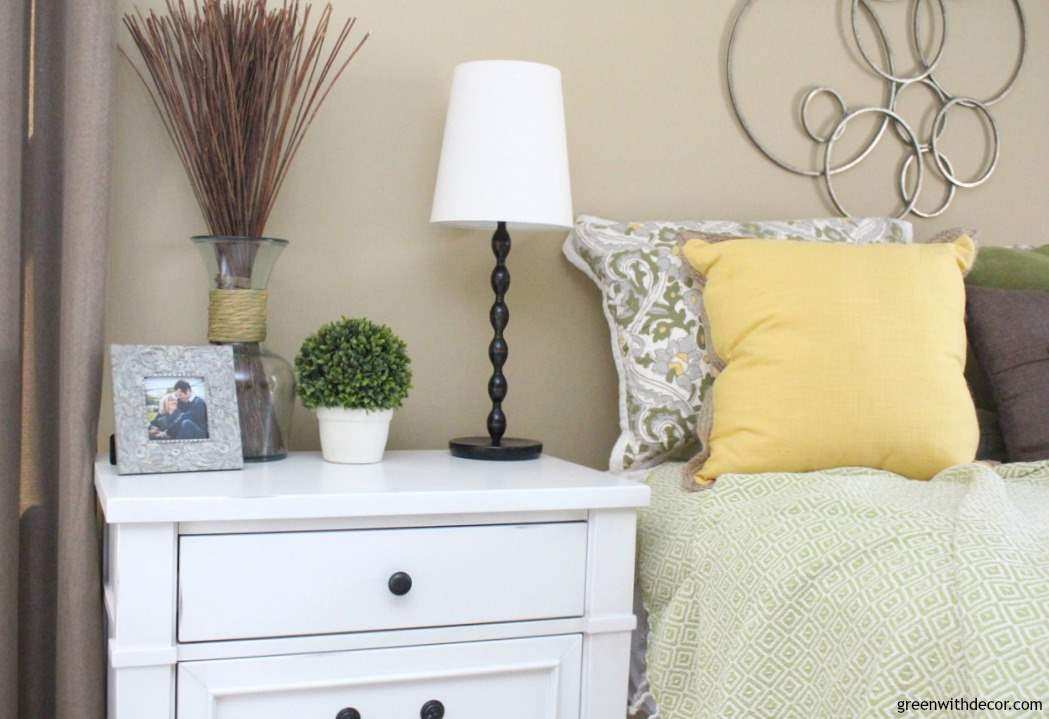 Do It Yourself Home Design: White-nightstand-bronze-handles-picture-frame-black-lamp