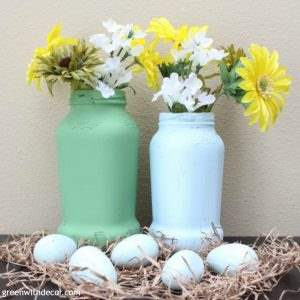 A spring vase idea from old spaghetti jars | diy spring | easter |diy | paint