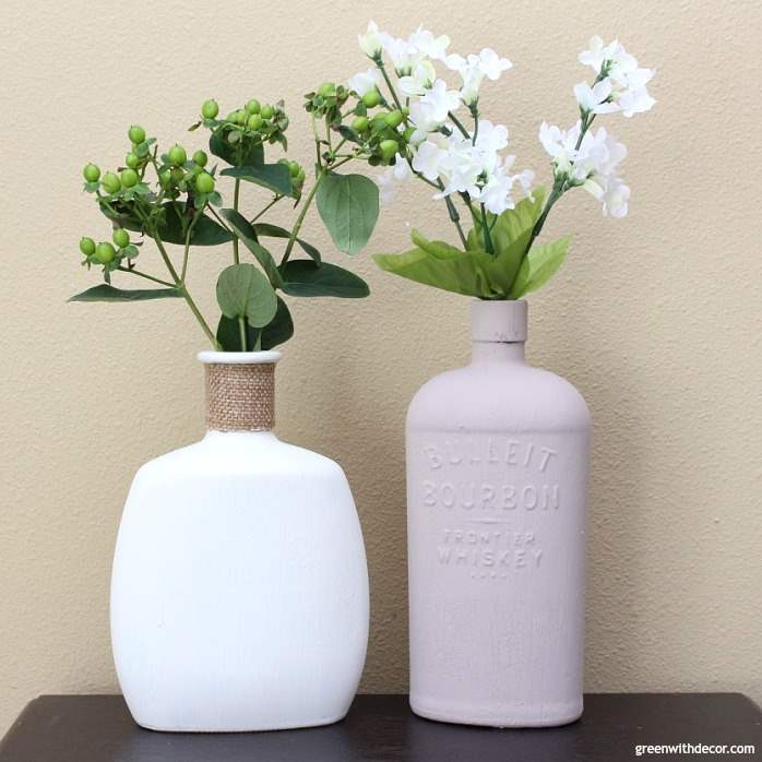 An easy way to DIY faux concrete vases | diy project | diy vase | spring project | how to use clay paint | use old glass bottles | liquor bottle diy | diy bottle project | painting diy