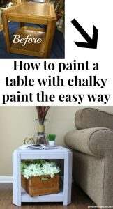 How to paint a table with chalky paint the easy way. Pretty gray chalky paint | DecoArt Artifact chalky paint | how to use chalky paint | how to apply wax to furniture | furniture makeovers | table makeover