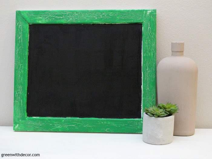 How to crackle paint with a heat gun. A fun DIY project with an old thrift store frame and a couple of contrasting paint colors!