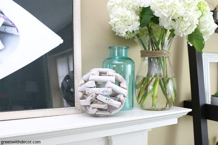 What To Use Decorate Summer Mantel White Driftwood Sphere Aqua Glass