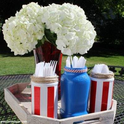 Fourth of July DIY silverware jars