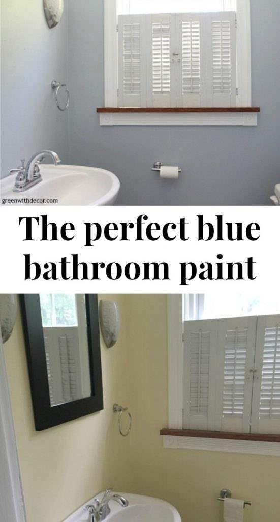 Krypton blue painted bathroom. Love this color! It's the perfect blue paint color with just a hint of gray. Beautiful with white woodwork.