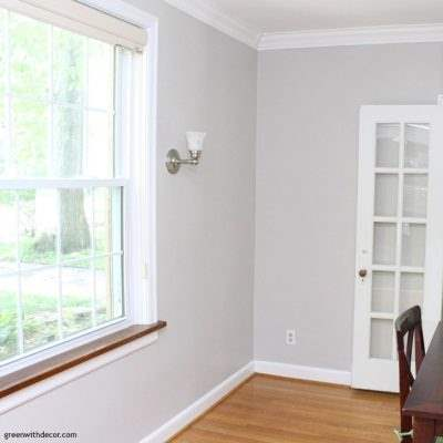 Agreeable Gray paint in the dining room, amazing what some paint can do to brighten up a dark room!