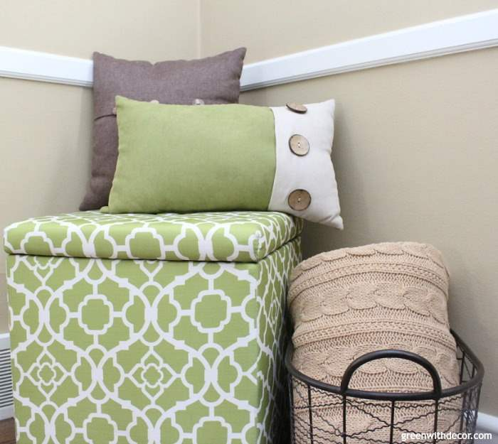 Such a pretty tan paint color - Sherwin Williams' Camelback! Love it with these green and brown pillows.