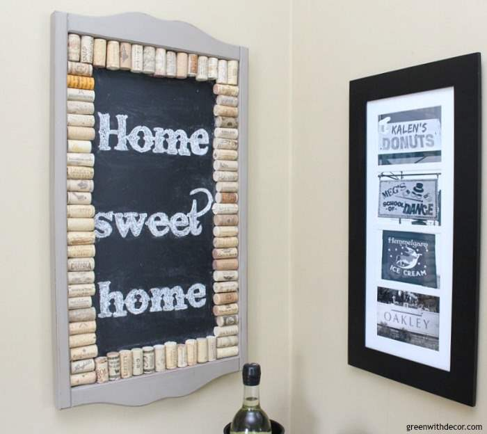 Pretty Camelback tan walls with a cork chalkboard and black picture frame. Such a pretty neutral paint color!