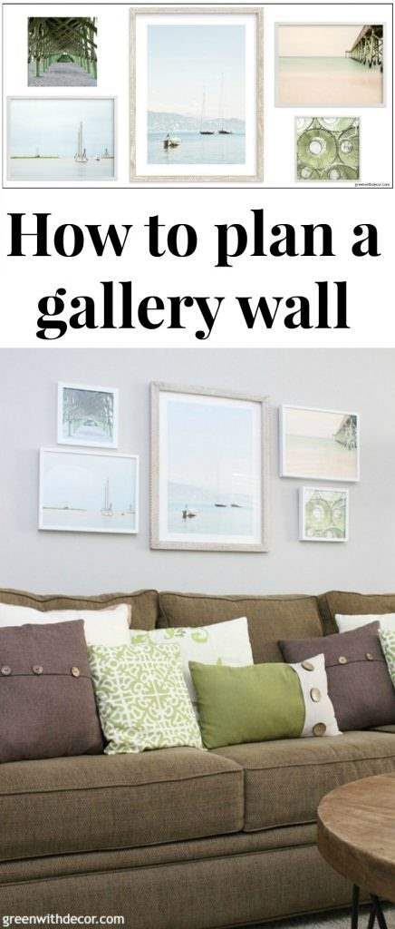 Tips to plan a gallery wall, including narrowing down artwork choices, how to pick pieces for a cohesive look and how many pieces do use. Like the coastal and beachy artwork! Paint color is Agreeable Gray.