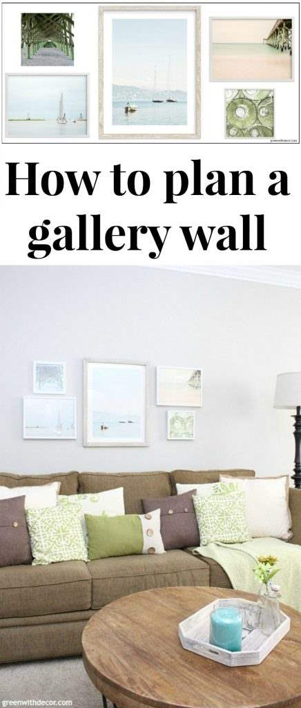 Tips to plan a gallery wall, including narrowing down artwork choices, how to pick pieces for a cohesive look and how many pieces do use. Pretty coastal and beachy artwork! Paint color is Agreeable Gray.