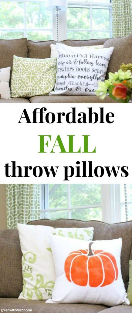 "Fall pillows with text overlay, ""Affordable fall throw pillows"""