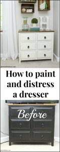 Learn to give any dresser a chippy farmhouse look. Transform any dark dresser into a white chippy farmhouse piece with this easy clay paint tutorial. Love it paired with the wood crates on the wall!
