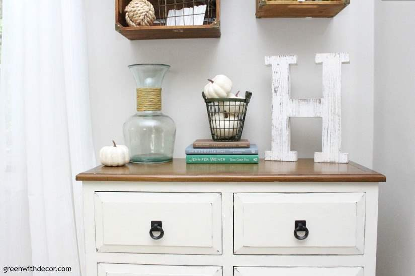 Easy fall decorating ideas for the mudroom, living room, mantel and other areas of the house. Throw some pumpkins and fall colors around and call it a day! Love this farmhouse distressed dresser decked out for fall! This crates give the room a coastal rustic feel.