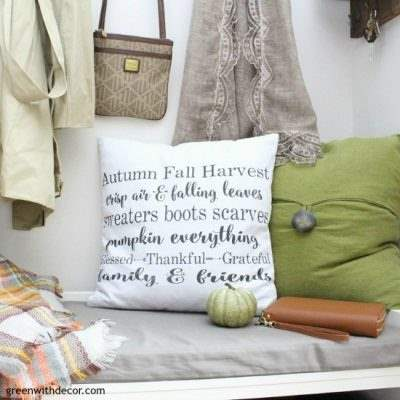 Fall pillows with a faux green pumpkin