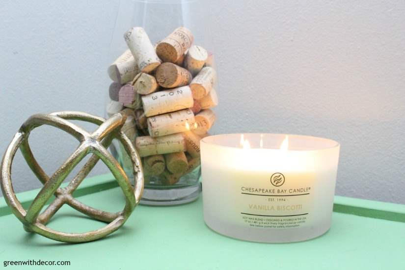 Delicious smelling fall candles in neutral colors. This green table is such a pretty color.