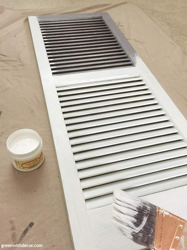 How to paint and distress an old shutter - a great tutorial for using Dixie Bell paint for furniture or other projects.