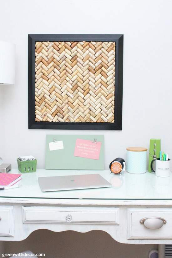 A DIY cork bulletin board in a home office