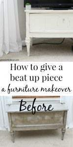 How to give a beat up piece a furniture makeover. A great tutorial for how to use clay paint the right way, how to use wood putty and how to use wax to seal a piece. Such a fun TV stand makeover!