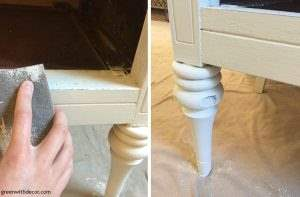 How to give a beat up piece a furniture makeover. A great tutorial for how to distress pieces after using chalk paint.