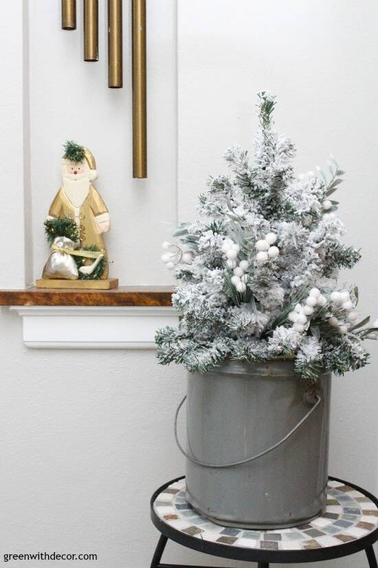 christmas decorating ideas for the foyer love that mini flocked christmas tree and gold santa - Flocked Christmas Tree Decorating Ideas