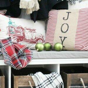 Christmas decorating ideas for the foyer. Love those wood rope crates!