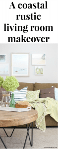 The costal rustic living room reveal - gorgeous beachy coastal living room with budget-friendly decorating and DIY projects. Love that coastal gallery wall, all of the furniture makeovers and the clever wood crate shelves! Such great ideas for decorating a living room.